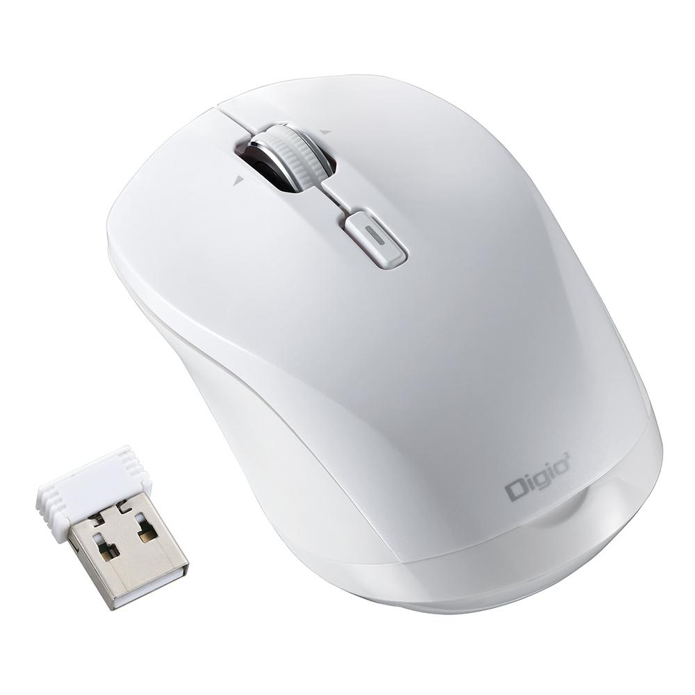 【新品/取寄品/代引不可】BlueLEDマウス 高速スクロール 無線 小型 静音 ホワイト MUS-RKT162W