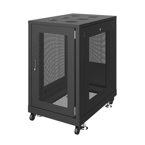 【新品/取寄品/代引不可】19インチサーバーラック メッシュパネル仕様(18U) W600xD900xH1020mm ブラック CP-SVN1890MBKN