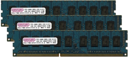 【新品/取寄品/代引不可】サーバー/WS用 PC3-10600/DDR3-1333 6GBキット(2GB 3枚)ECC付 トリプルチャンネル CK2GX3-D3UE1333