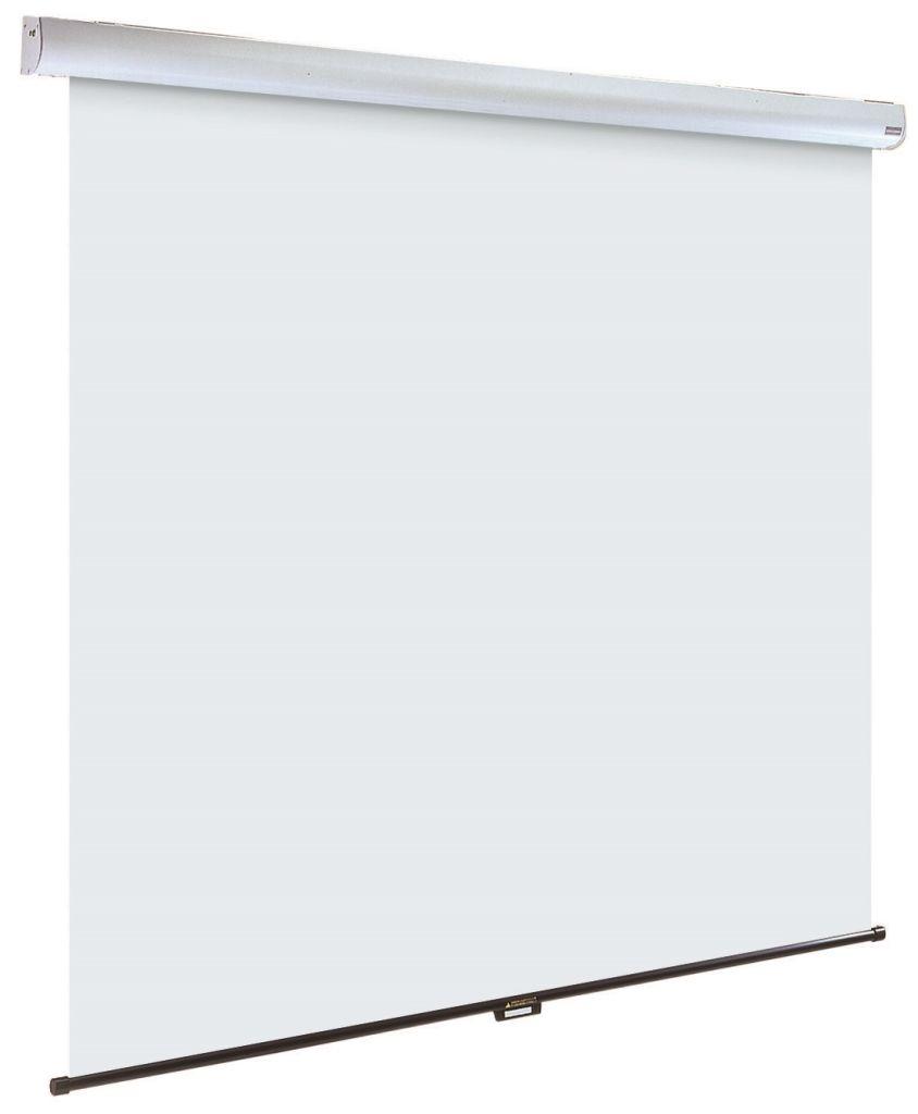 【新品/取寄品/代引不可】手動式100インチ スプリングロール式天吊スクリーン(アスペクト比 16:10)黒マスク無 全白仕様 IS-S100VAW