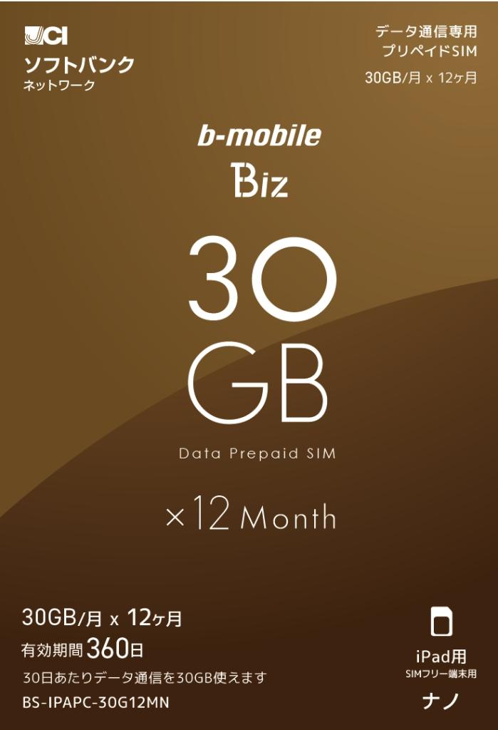 【新品/取寄品/代引不可】b-mobile Biz SIMパッケージ(SB/iPad用ナノ) BS-IPAPC-30G12MN