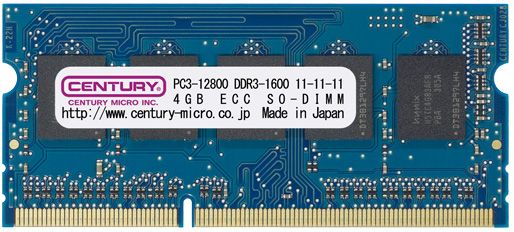 【新品/取寄品/代引不可】産機用 PC3-12800/DDR3-1600 8GBキット(4GX2枚) SODIMM ECC 1.5v 日本製 CK4GX2-SOD3UE1600