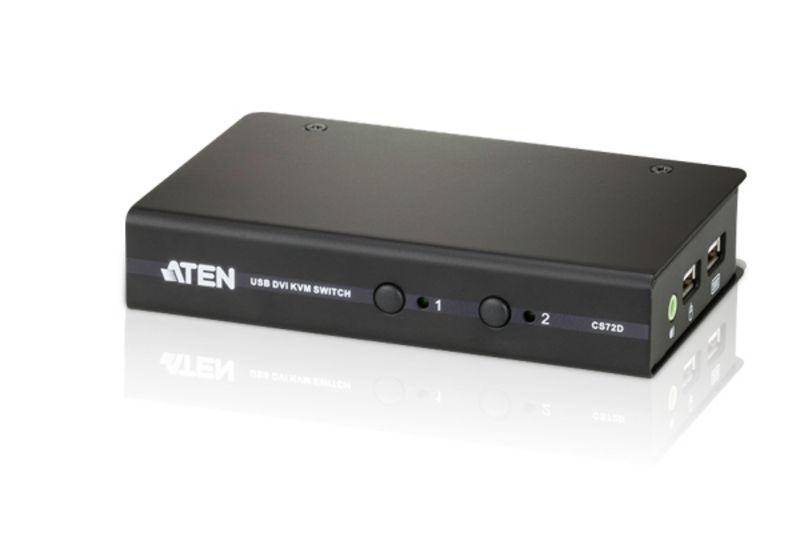 【新品/取寄品/代引不可】2ポートUSB DVI/オーディオKVMスイッチ(スリムタイプ) CS72D/ATEN