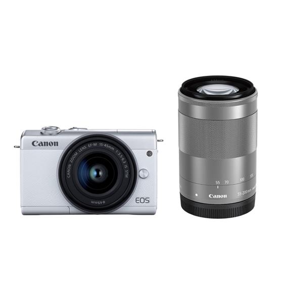 【新品/取寄品】ミラーレスカメラ EOS M200(ホワイト)・ダブルズームキット[3700C016] EOSM200WH-WZK