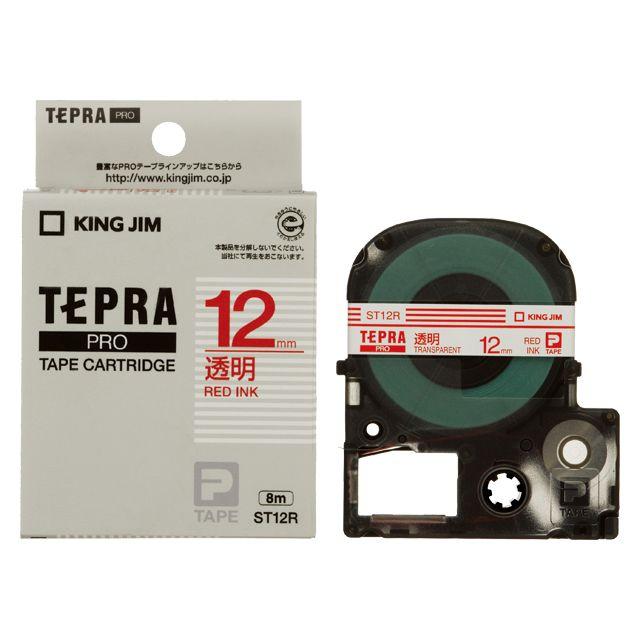 激安通販 新品 取寄品 代引不可 赤文字 PROテープ透明ラベル ST12R ブランド品