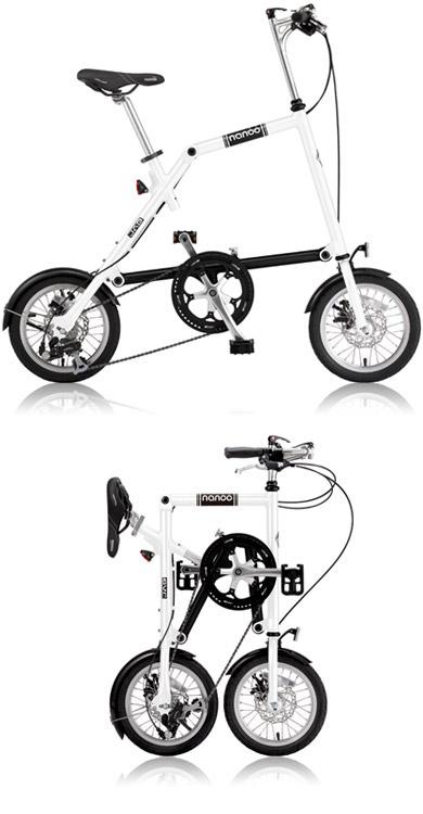 【新品/取寄品/代引不可】NANOO(ナノー) 14インチ 折りたたみ自転車 シマノ8段変速 FD-1408 ホワイト (23635) ミニベロ(専用輸行バッグ/トライフレームバッグ付属)【北海道・沖縄・離島配送不可】