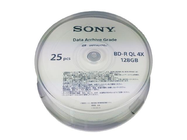 【新品/取寄品/代引不可】ソニー製 長期保存用BD-R JIS Z 6017準拠 128GB スピンドル 25枚入り B4PPAD4RB25-AL