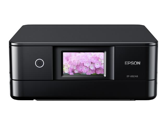 【新品/取寄品/代引不可】Colorio 多機能モデル EP-882AB(ブラックモデル/A4/有線・無線LAN/Wi-Fi Direct/4.3型ワイドタッチパネル/自動両面印刷/レーベルプリント/6色染料) EP-882AB