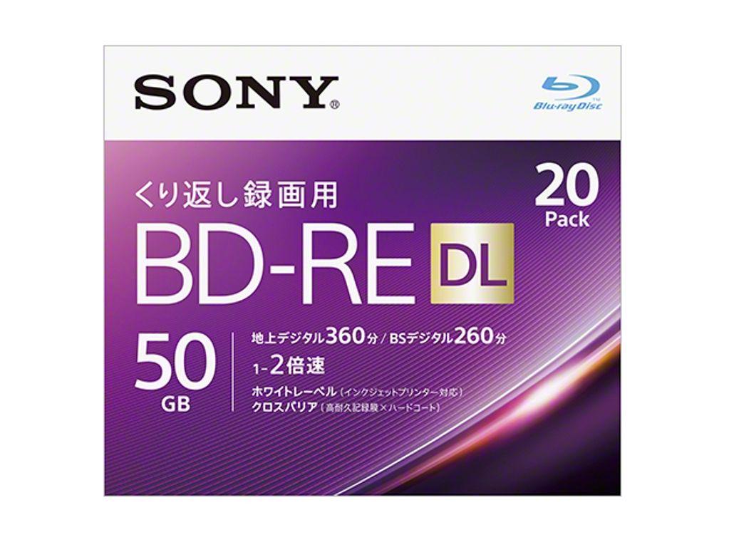 【新品/取寄品/代引不可】ビデオ用BD-RE 書換型 片面2層50GB 2倍速 ホワイトプリンタブル 20枚パック 20BNE2VJPS2
