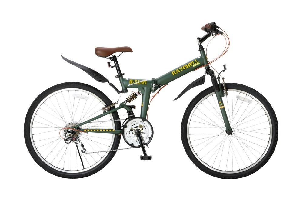 【新品/取寄品/代引不可】Raychell R-314N オリーブ (17075) 折り畳みマウンテンバイク 26インチ 18段変速【北海道・沖縄・離島配送不可】