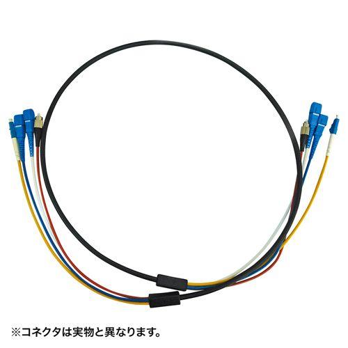 【新品/取寄品/代引不可】防水ロバスト光ファイバケーブル LC×4‐LC×4 10m ブラック HKB-LCLCWPRB1-10