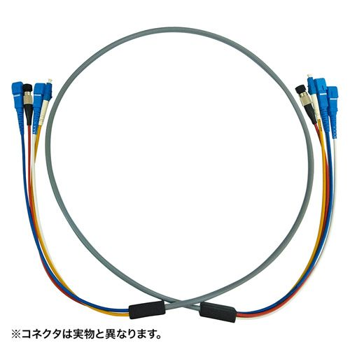 【新品/取寄品/代引不可】防水ロバスト光ファイバケーブル LC×4‐LC×4 5m グレー HKB-LCLCWPRB5-05