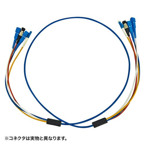 【新品/取寄品/代引不可】ロバスト光ファイバケーブル SC×4‐SC×4 5m ブルー HKB-SCSCRB1-05