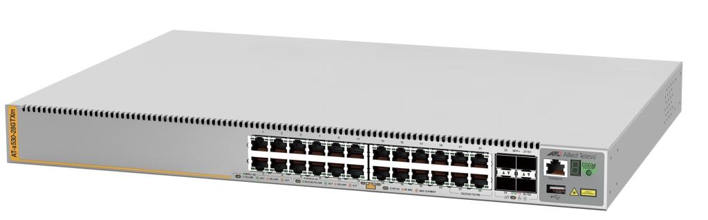 【新品/取寄品/代引不可】AT-x530-28GTXm-N7アカデミック[10/100/1000BASE-Tx20、100/1000/2.5G/5GBASE-Tx4、SFP/SFP+スロットx4(デリバリースタンダード保守7年付)] 3770RN7