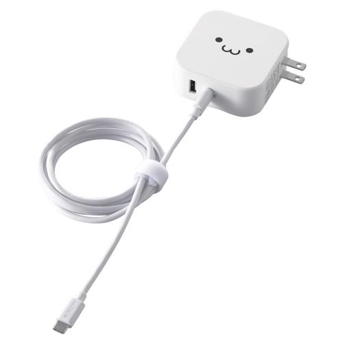 【新品/取寄品/代引不可】スマートフォン・タブレット用AC充電器/PD対応/42W/Type-Cメス1ポート(30W)/USB-Aメス1ポート(12W)/Type-Cケーブル同梱(C-C)/1.5m/ホワイトフェイス MPA-ACCP14WF