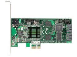 【新品/取寄品/代引不可】SerialATA II RAIDカード 2ポート版(PCI-Express x1/DDR2 400/RAID0.1対応) ARC-1200