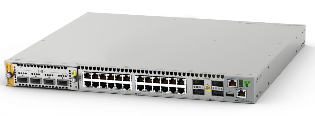 【新品/取寄品/代引不可】AT-x950-28XTQm-N7アカデミック[100/1000/2.5G/5G/10GBASE-Tx24、QSFP+/QSFP28スロットx4、AT-XEM2用拡張ベイx1(デリバリースタンダード保守7年付)] 3868RN