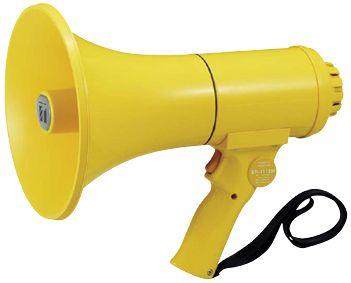 【新品/取寄品/代引不可】防滴 中型メガホン(ハンド型/ホイッスル音付/15W) ER-1115W