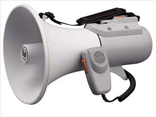 【新品/取寄品/代引不可】ショルダー型メガホン(ホイッスル音付/15W) ER-2115W