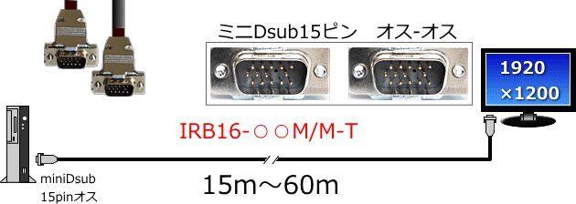 【新品/取寄品/代引不可】高解像度対応 モニター延長ケーブルDOS/V機用アナログRGB15m IRB16-45M/M-T
