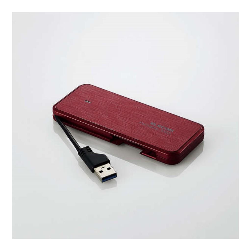 【新品/取寄品/代引不可】外付けSSD/ポータブル/ケーブル収納対応/USB3.2(Gen1)対応/480GB/レッド/データ復旧サービスLite付 ESD-EC0480GRDR