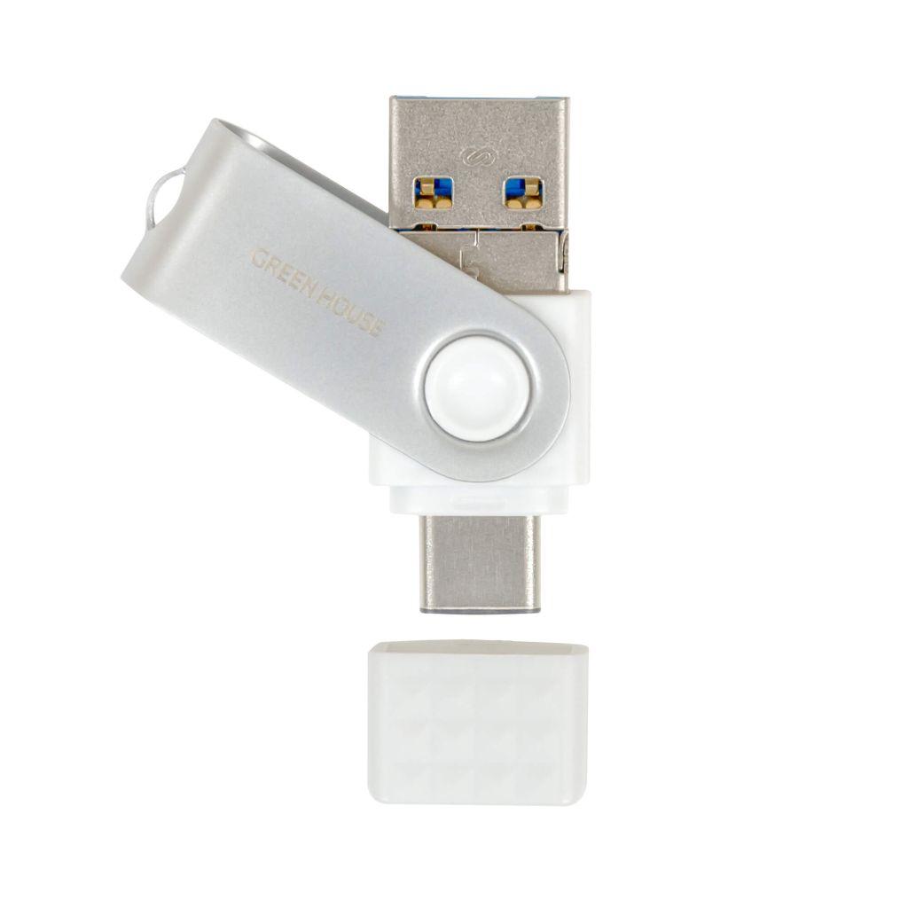 【新品/取寄品/代引不可】3in1(Type-C/A/Micro-B) USBメモリー 64GB ホワイト GH-UF3TA64G-WH