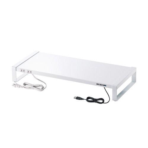 【新品/取寄品/代引不可】電源タップ+USBハブ付き机上ラック(W600) ホワイト MR-LC205W