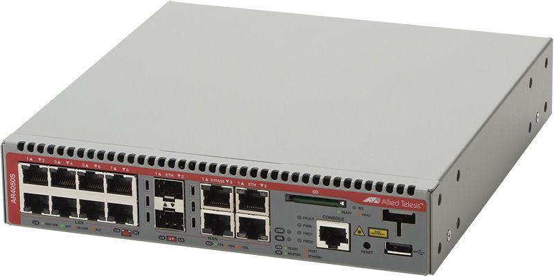 [WAN:10/100/1000BASE-Tx2(コンボ)、SFPスロットx2(コンボ)、バイパスポートx2、LAN:10/100/1000BASE-Tx8、USBポートx1、SDカードスロットx1 【新品/取寄品/代引不可】AT-AR4050S-Z7