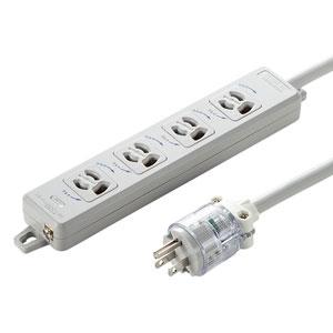 【新品/取寄品/代引不可】医用接地プラグ付き電源タップ 一般用 3P4個口 3m TAP-HPM4-3W