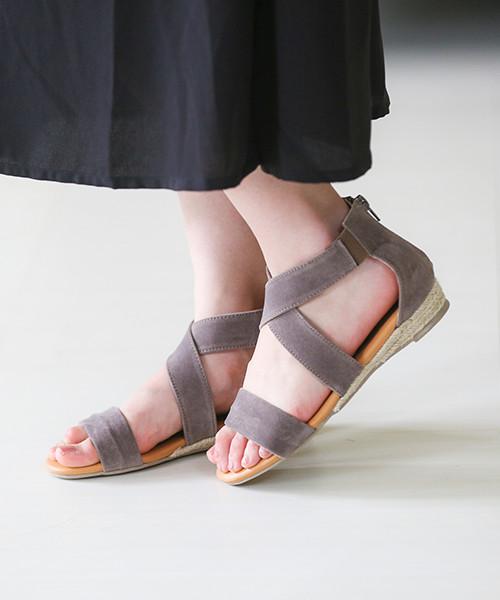 交叉設計黃麻涼鞋 [唯一快遞» pettanko pettanko 黃麻包裹楔步行 2016年春夏小尺寸大尺寸帶周圍的線上購物馬拉松