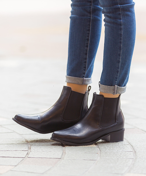 ◆ booking product ◆ GINGER posted! Pointy toe low heel Couleur [only courier» ladies booties menue Manuel short boots black Navy 2016 autumn model