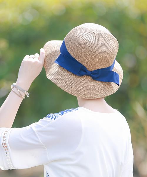사이즈 조절할 수 있다! UV캇트리본카프리누핫트 모자 레이디스 uv 큰 사이즈여름 밀짚 리본 2017 봄과 여름 신작