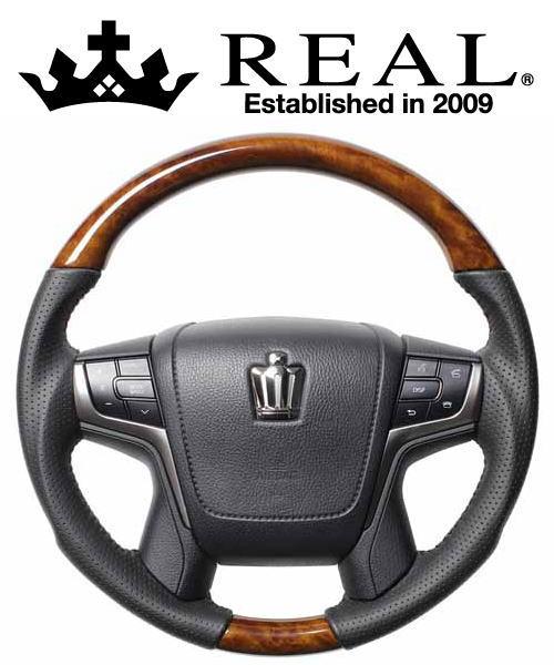REAL STEERING オリジナルシリーズ トヨタ クラウンロイヤル 210系用 カラー:30ライトブラウンウッド (H30-LBW-BK)【ハンドル】レアル ステアリング【通常ポイント10倍!】