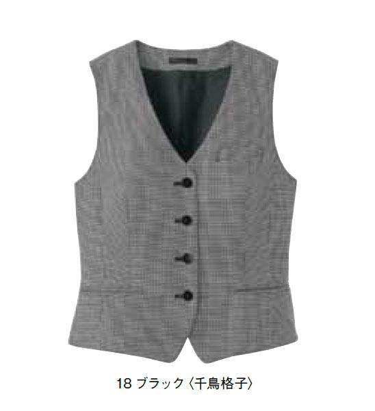 レディスベスト(千鳥格子)【サイズ:5号~17号】毛50%、ポリエステル50%