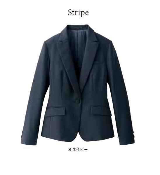 レディスストレッチジャケット / ストライプ / 【サイズ:5号~17号】ポリエステル97% キュプラ3%