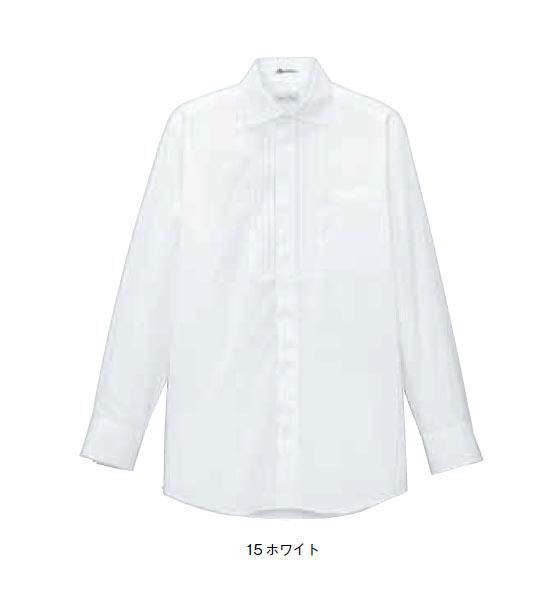 BONMAX メンズピンタックワイドカラー長袖シャツ【S~4L】/ストレッチブロード/フォーマル/透け防止