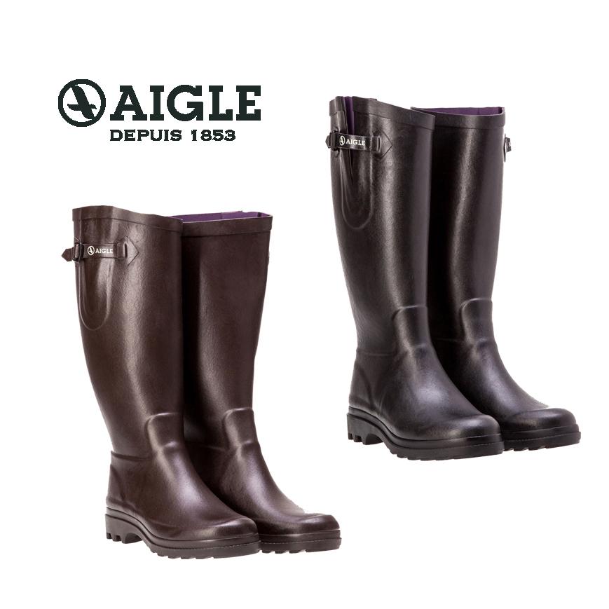 AIGLE エーグル AIGLENTINE エーグランティーヌ [日本正規品] ZZF8587 レディース 女性用ラバーブーツ レインブーツ 長靴 ブラック ブラウン