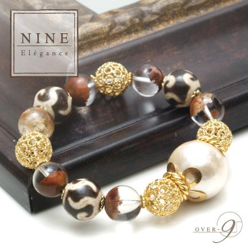 【豊かさと華やかさを欲しいままに~老礦 金銭釣天珠ブレスレット~ NINE-Elegance-premium】【メール便不可】