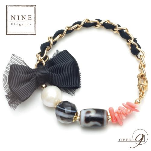 NINE-Elegance- 天珠が選べる老礦天珠×チュールリボンブレスレット