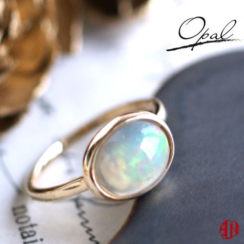 【A.UN jewelry】 エチオピア産 オパール 一粒 リング / K10 / 11号のみ即納 / 10月 誕生石 / カボションカット 大粒 ボリュームリング ファッションリング 指輪 華奢
