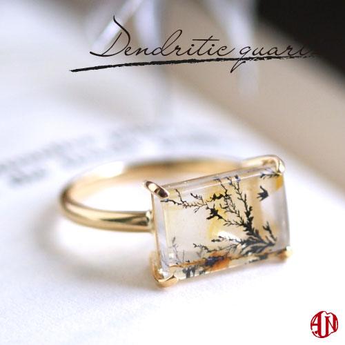 【A.UN jewelry】 デンドリティッククォーツ リング《B》 / K18(18金) / 11号のみ即納 / デンドライト 忍石 模樹石 / スクエア スクエア型 / 一粒 大粒 ボリュームリング ファッションリング 指輪 ボタニカル 誕生日プレゼント 女性 レディース