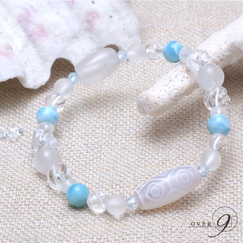 【Aquablue amulet ~海の宝石~ 『老玉髄 白龍眼天珠ブレスレット』】【メール便不可】