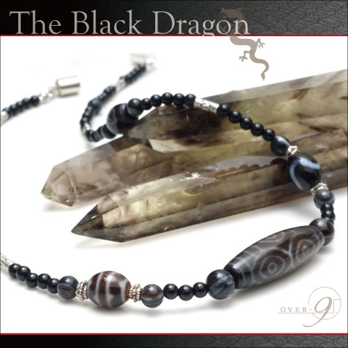 天珠 ネックレス【The Black Dragon -龍眼天珠ネックレス-】【メール便不可】3A 至純天珠 パワーストーン 天然石 開運 龍 金運 仕事運 ドラゴン OVER-9一番人気のネックレス♪