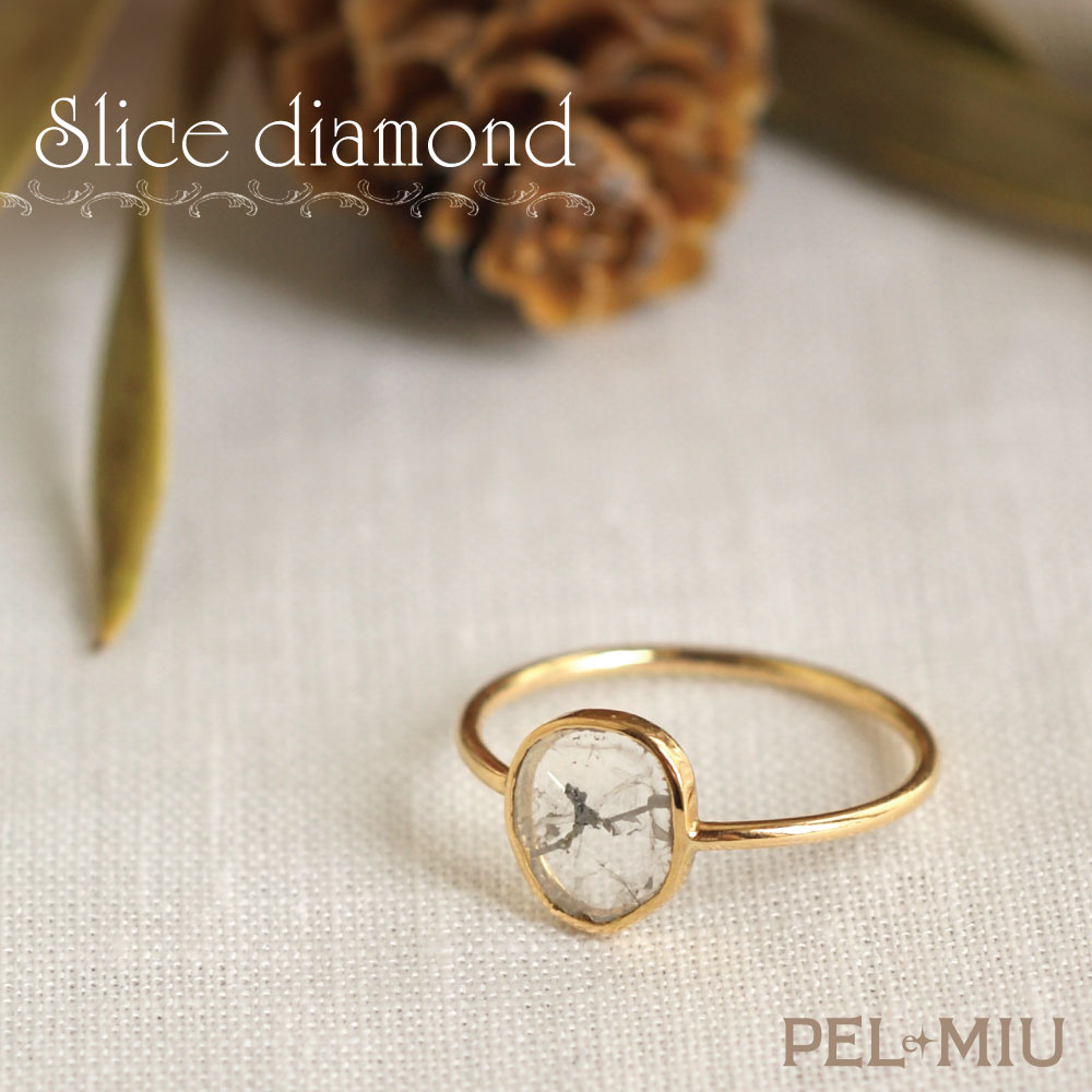 【PEL et MIU】スライスダイヤモンド《 A 》 10Kリング 指輪 K10YG 【送料無料】天然ダイヤモンド 天然色 ペル エ ミュウ A.UN 誕生石 4月