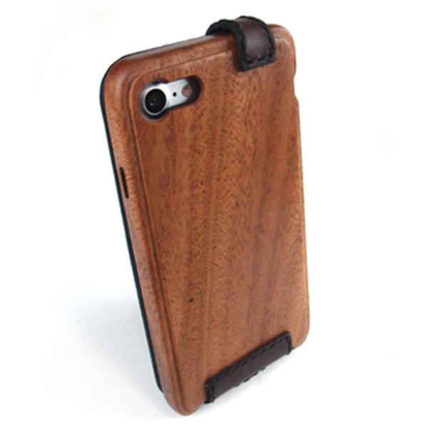 [送料無料!]木製ケースiPhonee 8専用木と革のケース縦開き[納期:3~5週間(受注生産品)]