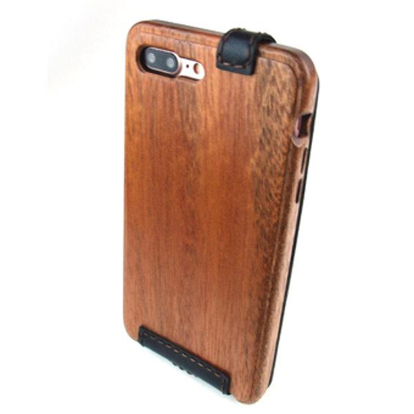 [送料無料!]木製ケースiPhonee 8 Plus専用木と革のケース縦開き[納期:3~5週間(受注生産品)]