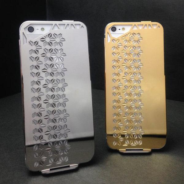 ステンレス製iPhon5/5Sケース(Stainless steel iPhobe5/5S case)[デザイン:あさのは][表面仕上げ:ステンレス磨き仕上げ+18金メッキ]