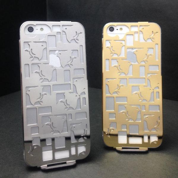 ステンレス製iPhon5/5Sケース(Stainless steel iPhobe5/5S case)[デザイン:ちどり][表面仕上げ:ステンレス磨き仕上げ+18金メッキ]