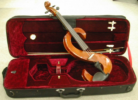 おしゃれなS字デザイン消音バイオリン・ケース・弓 サイレント木製バイオリンセット
