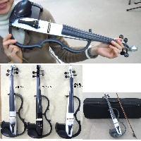 サイレントバイオリン シルバー色 エレキバイオリン・ケース・弓・松脂
